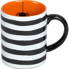Crate and Barrel Inspired Halloween Ceramic Mug. Black and white with orange and a spider inside! Paint Your Own Pottery. Halloween Kitchen, Halloween Mug, Halloween Home Decor, Halloween House, Holidays Halloween, Halloween Decorations, Halloween Ideas, Halloween Goodies, Pottery Painting