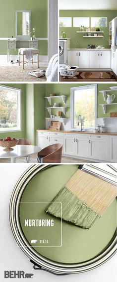 There's more than one way to use the BEHR Paint Color of the Month, Nurturing, in the interior design of your home! This light green hue adds a pop of pastel color to the traditional style of this house. Bright white and natural wood accents create a calming, open style in this bedroom, laundry room, and kitchen. #paintaroomfast Kitchen Paint Colors, Bedroom Paint Colors, Paint Colors For Home, House Colors, Paint Colours, Wall Colors, Green Kitchen Paint, Kitchen White, Bright Kitchen Colors