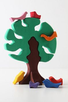 wooden bird tree puzzle - love wooden toys