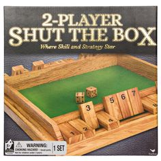 Two-Player Shut the Box Strategy Game, Multicolor Sec Games, Math Games, Door Games, Wooden Board Games, Wooden Dice, Two Player Games, Board Games For Kids, Gambling Games, Games Box