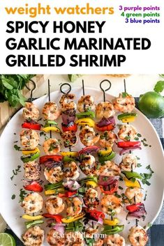 WW Marinated Shrimp Skewers - CarrieElle Grilling Recipes, Keto Recipes, Cooking Recipes, Healthy Recipes, Dinner Recipes, Marinated Grilled Shrimp, Spicy Shrimp, Chicken Zucchini Bake, Cookout Side Dishes
