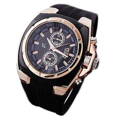V6 Men's Sport Style Big Dial Silicone Watch ( Rose Gold Black face ) BuyTerest