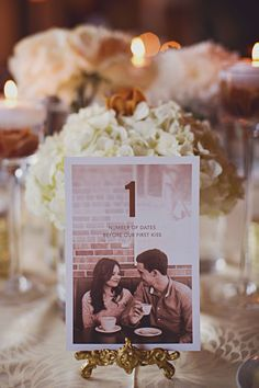 Have each number represent a fun fact about your relationship, such as the day you met, the number of years you've been together or the number of dates before your first kiss. Photo courtesy of Katch Studios as seen in this real wedding .