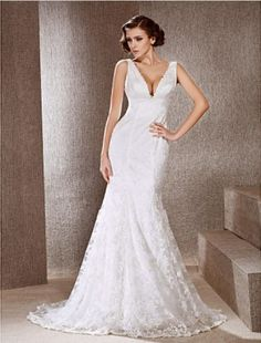 Trumpet/ Mermaid V-neck Sweep/ Brush Train Lace Wedding Dress