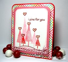 Clever Valentine card using Lawn Fawn Let it Snow, Critters in the Forest and Making Frosty Friends _ Annie Rose Makes Things: {I Pine For You} Valentine