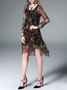 Black Long Sleeve Silk Asymmetrical Midi Dress with Camis