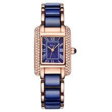 Kimio Women Quartz Watch Fashion Blue Square Diamond Bracelet Watches Brand Imitation Ceramics Student Waterproof  Wristwatch(China (Mainland))