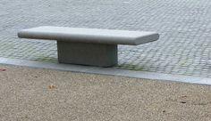 contemporary public bench in concrete