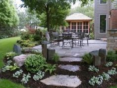 Amazing DIY Slate Patio Design and Ideas – Onechitecture - front yard landscaping ideas with rocks Outdoor Landscaping, Front Yard Landscaping, Backyard Patio, Outdoor Gardens, Landscaping Ideas, Hillside Landscaping, Backyard Ideas, Walkway Ideas, Diy Patio