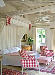 "Sophisticated ""Cottage"" style <3 the red and white checks"