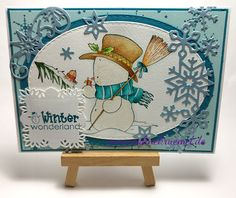 """""""Snowman and Robin"""" Whimsy Stamps; Ovale cutting dies""""XXL Nest Lies Ovals"""" Crealies; Snowflake border on the right side """"Snow Flurry"""" Wild Rose Studio; Star/Snowflake in the left corner """"Wintertide Icy Crystal Swirl"""" Amy Design; Square around sentiment from Spellbinders; Cardstock CraftEmotions/Claire Fontaine; Sentiment Whiff of Joy; colored with TwinklingsH20 // Christmas card // DIY Greeting Card"""