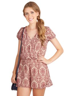 Classics Class Romper. As a dedicated student of artful style, youre immediately drawn to the classic, sculptural print of this silky romper. #pink #modcloth