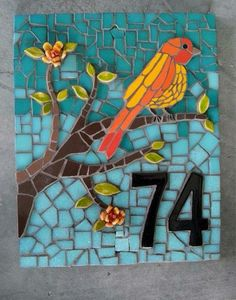 Creative House Number Ideas The Importance of House Numbers Creative House Number Ideas. House numbers are so important and yet they are completely overlooked. Mosaic Garden Art, Mosaic Tile Art, Mosaic Artwork, Mosaic Crafts, Mosaic Projects, Stone Mosaic, Mosaic Glass, Mosaic Ideas, Stained Glass