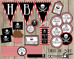 Pirate Birthday Party Package. Instant by LilacsAndCharcoal