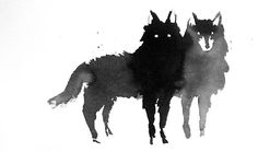Wolves.    (edit: a print of this can be purchased here http://society6.com/SarahKeokanock/Among-Wolves_Print)