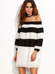 Black and White Striped Off The Shoulder Long Sleeves Shift Dress Sz XS S M L