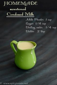 Homemade Sweetened Condensed Milk recipe in 2 ways. Easy and Instant method with just 4 ingredients only. How to Make Condensed Milk with Whole Milk. Homemade Sweetened Condensed Milk, Condensed Milk Recipes, Easy Ice Cream Recipe, Ice Cream Recipes, Indian Sweets, Bakery Recipes, Secret Recipe, Powdered Milk, Diy Food