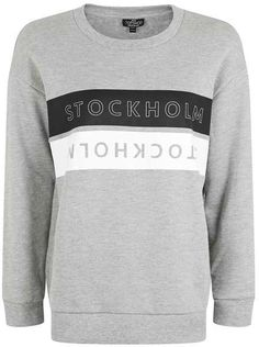 Petite  stockholm motif sweatshirt Petite Outfits, Hoodies, Sweatshirts, Stockholm, Graphic Sweatshirt, Stylish, Long Sleeve, Clothing, Sweaters