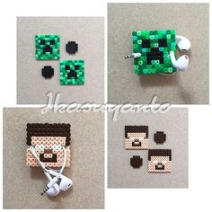 Minecraft earbud holders perler beads by ikasuyanto Perler Beads, Perler Bead Art, Fuse Beads, Hama Beads Design, Hama Beads Patterns, Beading Patterns, Melty Bead Designs, Minecraft, Perler Bead Disney