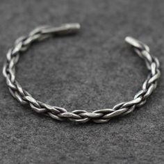 Men's Sterling Silver Braided Cuff Bracelet