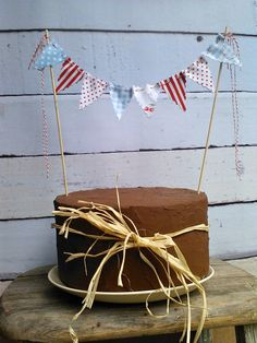 Cake Bunting Fourth of July Picnic Cake or Pie Topper strung on Bakers Twine