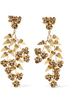 Jennifer Behr's gold-plated 'Aveline' earrings resemble leafy branches of ivy. Set with clusters of Swarovski crystals, this oversized pair has a swaying chandelier silhouette that just grazes your shoulders.