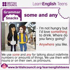Grammar Snacks: some and any #EnglishGrammar #LearnEnglish  @English4Matura