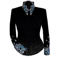Ladies Limited Edition Show Jacket  This jacket is non-stop iridescence! From the crystal fade to the gorgeous collar to the amazing cuff detail, this jacket is a show stopper. We've paired iridescent elements, textured geometric silver and black studs and sparkling clear crystals for a bold design on both the collar and cuffs. The iridescent elements change from blue to purple to green based on the light and angle. Thousands of crystals and studs fade up from the hem to create a dynamic…