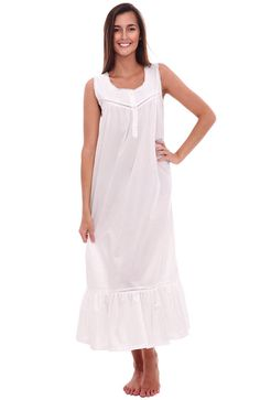 84e4c3528c Womens Patricia Cotton Nightgown- Long Victorian Sleeveless Sleepwear -  White - C611742WIMH