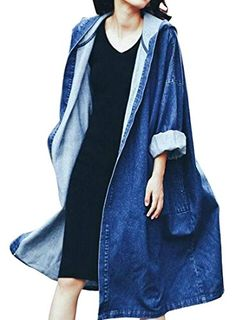 fd18b407dd ARTFFEL Womens Hooded Long Sleeve Casual Denim Trench Coat Overcoat Blue OS  Denim Jacket With Hoodie