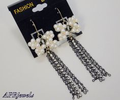 SALE/White Pearl Bow Earrings/Swarovski Pearls/Swarovski Rhinestones on Etsy, $15.00