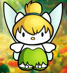 how to draw tinkerbell hello kitty