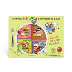 """18"""" x 24"""" Laminated. Appropriate for ages 2-8. This USDA MyPlate poster incorporates fun and friendly food characters delivering the message of balancing good foods with physical activity. Based on USDA's MyPlate model, this poster is perfect for preschool and primary grades. Kid sized portions of healthy food choices are shown on each food group section of MyPlate. MyPlate is the USDA food symbol that replaced the food guide pyramid. This item is also available in Spanish: Kids MyPlate Spanish  Tofu Nutrition, Sports Nutrition, Nutrition Education, Kids Nutrition, Vegetable Nutrition, Health Snacks, Health Eating, Kids Health, Healthy Food Choices"""