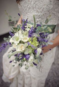 Purple and white, lavender and rose bridal bouquet
