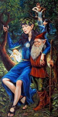 "Elves Faeries Gnomes: ""Elf Queen,"" by Marcel LorAnge. Woodland Creatures, Magical Creatures, Fantasy Creatures, Fantasy Kunst, Fantasy Art, Fairy Land, Fairy Tales, Arte Elemental, Unicorns And Mermaids"