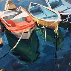 """Daily Paintworks - """"Boats Boats Boats"""" - Original Fine Art for Sale - © Teddi Parker"""