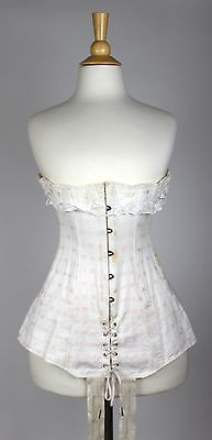 5987648900 Antique White Cotton Underbust Corset Pink Embroidered Flowers Early 20th C