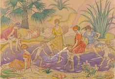 (Australia An image of The picnic by Thea Proctor Art Deco Illustration, Floral Illustrations, Silk Painting, Female Art, Printmaking, Art Nouveau, Picnic, Image, Australia