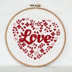 Flower heart cross stitch pattern  Love от AnimalsCrossStitch
