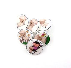 6 SMALL Mary Had a Little Lamb Buttons. 6 by buttonsbyrobin, $12.50