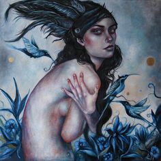 Ingrid Tusell #bleaq #painting #blue #woman #art