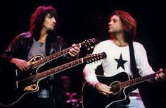 "Richie Sambora and Jon Bon Jovi circa 1994. @jovilyfe | Tumblr - ""'Lean On Me' - this song makes this photo ten times better but also much sadder."" #kingofswing #captainkidd #jbj #bonjovi #90s #90smusic #90srock"