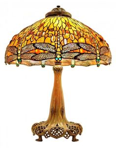 Tiffany Studios - A Jeweled Drop Head Dragonfly Table Lamp- Leaded Glass and Bronze Table Lamp - Circa 1910 - Early Century Tiffany Stained Glass Lamp - Art Glass Glass Desk, Glass Vanity, Glass Art, Stained Glass Lamps, Leaded Glass, Studio Lamp, Art Deco, Art Nouveau, Table Lamps For Sale