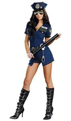 Disfraz Oficial de Policía Divertido Disfraz Oficial de Policía compuesto por mono-vestido azul de policía, cinturón y gorra con escudo.