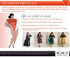 DIY How to Dress Your Shape Infographic from IGIGI Good suggestions, but really wear whatever you want to. Life is too short to conform to what you think others want you to look like. Dress to please yourself. Wear what you love. Designer Plus Size Clothing, Plus Size Designers, Plus Size Womens Clothing, Trendy Clothing, Triangle Body Shape, Inverted Triangle Body, Narrow Hips, Short Torso, Plus Size Fashion Blog