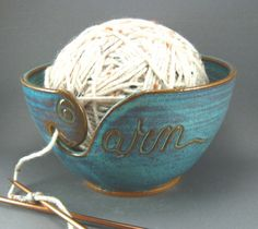Image detail for -Yarn Bowl Green Handmade Pottery Knit Crochet Purl Stitch Fiber Art . Stitch Crochet, Purl Stitch, Knit Crochet, Crotchet, Vogue Knitting, Knitting Yarn, Knitting Projects, Crochet Projects, Handmade Pottery