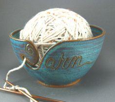 Turquoise yarn bowl