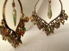 Bohemian Chandelier Earrings: Bohemian Jewelry Czech Glass Beads Bohemian Earrings Antique Brass Boho Earrings Hippie Gypsy Style Earrings