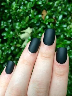A set of 24 hand painted matte black nails. The nails come in 12 different sizes (2 of each size included in set).  They feature 2 coats of high quality black nail polish and 1-2 coats of high quality matte top coat. They are an active square shape and can easily be filed to better fit your nails. * glue & mini file included