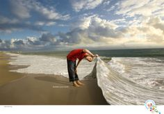 Photo-illustration of a young boy lifting an ocean wave, created for the Science Museum of Virginia's 'Question your World' campaign.Photographers John Henley (landscape) and Todd Wright (boy). Science Museum Of Virginia, Creative Photography, Art Photography, Stock Background, Cool Captions, Multiple Exposure, Portfolio Images, Communication Art, Wave Art